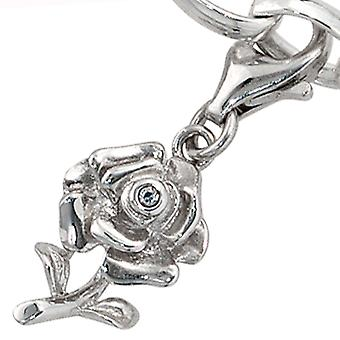 Women's Mount Charm Rose 925 Sterling Silver Rhodium 1 Zirconia