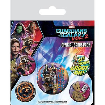 Guardians of the Galaxy Vol 2 Rocket & Groot Pin Button Badges Set