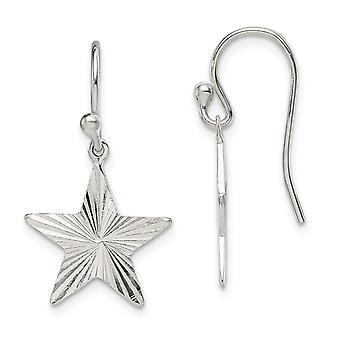 925 Sterling Silver Star Long Drop Dangle Boucles d'oreilles Cadeaux bijoux pour les femmes - 1,8 Grammes