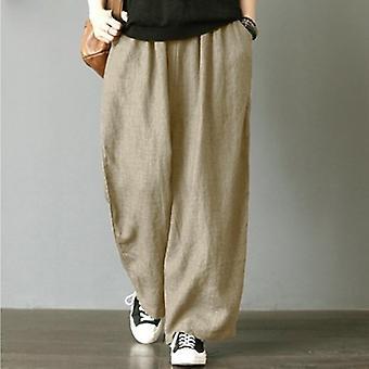 فضفاضة بنطلون مطوي جيوب كبيرة الحجم واسعة الساق بانت