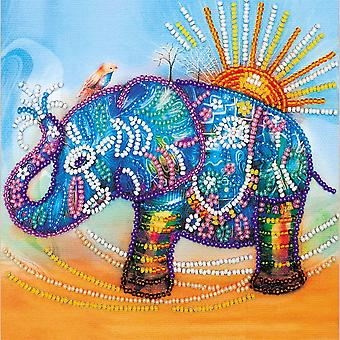 Abris Art Bead Embroidery Kit With Thread - Neon Elephant