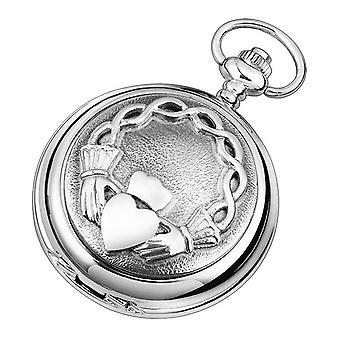 Woodford Claddagh Skeleton Chain Pocket Watch - Silver