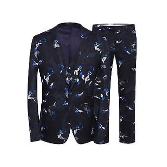 Allthemen Men's Plant Floral Slim Fit Party Casual 3-Piece Suit