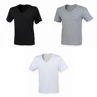 SF Men Wide V-Neck Plain T-shirt