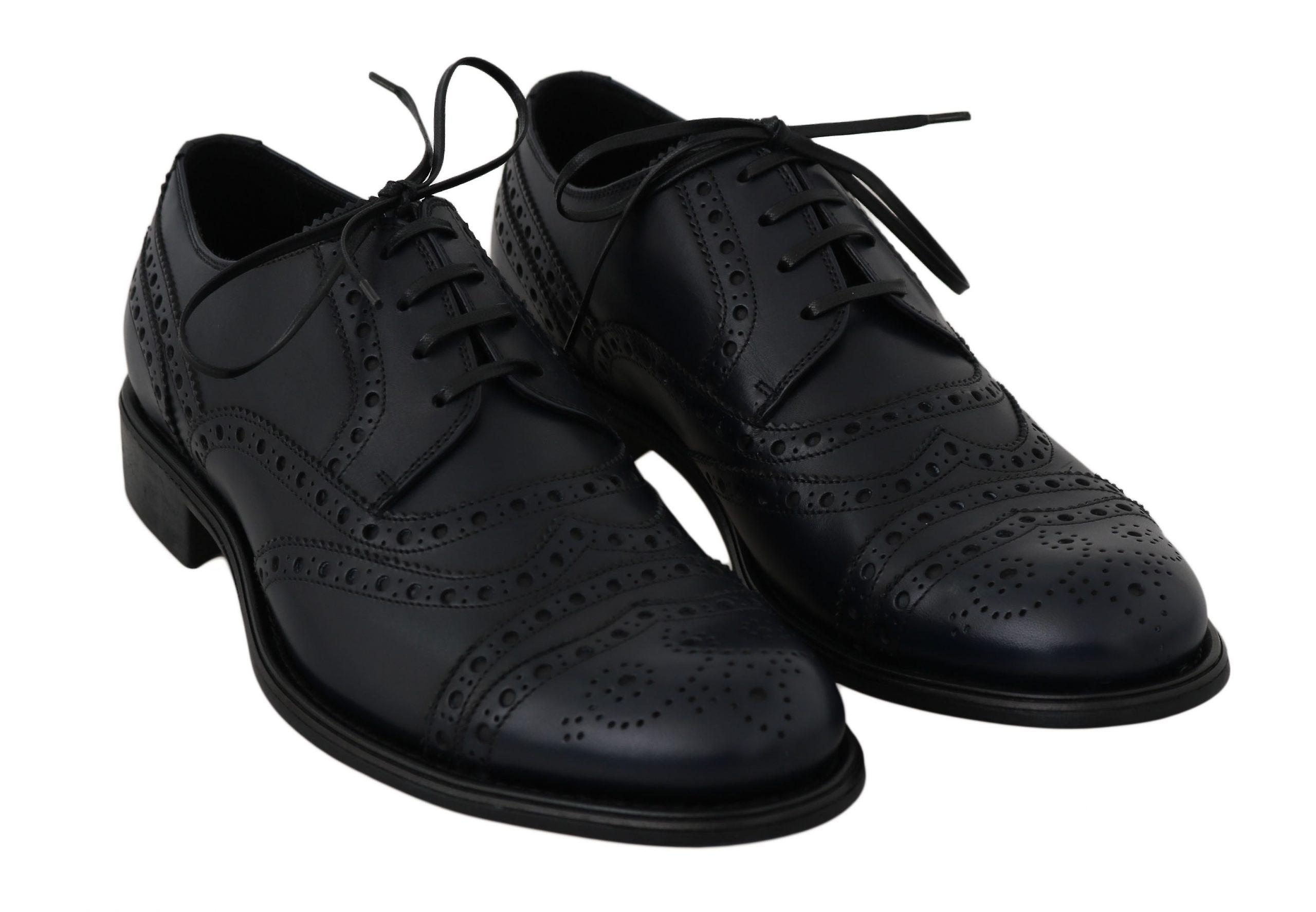 Dolce & Gabbana Blue Leather Wingtip Derby Chaussures formelles MV2334-39