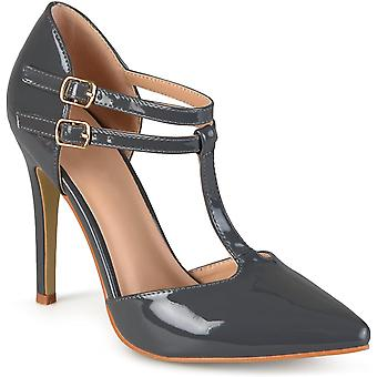 Journee Collection Womens Classic T-Strap Pumps Grey, 8 Regular US