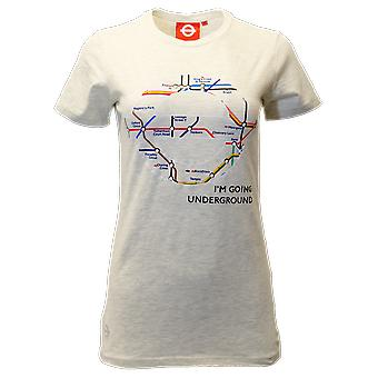 Licensed tfl103l ladies london undergound map t shirt oatmeal