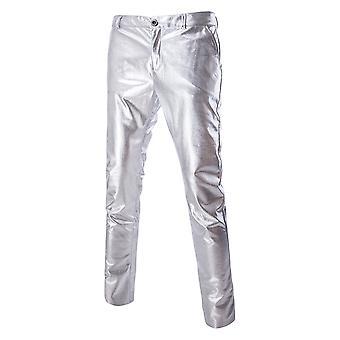 Allthemen Men's Pants Bright Bronzing Mid-Waist Casual Pants