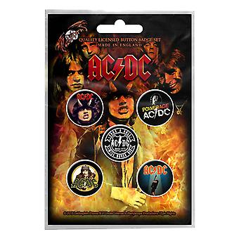 AC / DC insigna pack albume powerage band logo-ul nou Oficial 5 x Pin Button