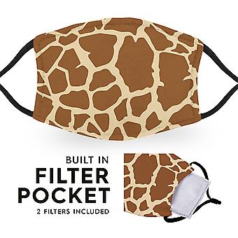 Giraffe Print - Reusable Childrens Cloth Face Masks - 2 Filters Included