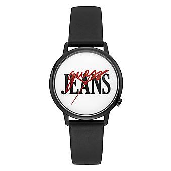 Gissa V102M2 - Svart läder armband Logo Röd och svart man / kvinna Klocka