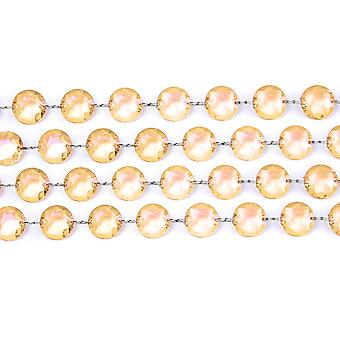 1m Gold 18mm Round Acrylic Crystal Bead Garland for Decorations