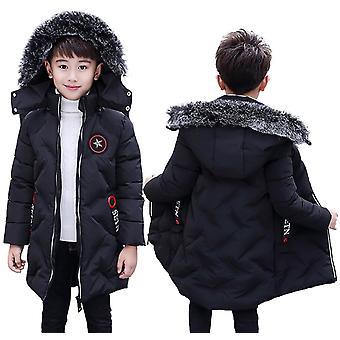 أطفال أنيقة فو الفراء تقليم مقنع طويل مبطن الأولاد مبطن معطف الشتاء - أسود