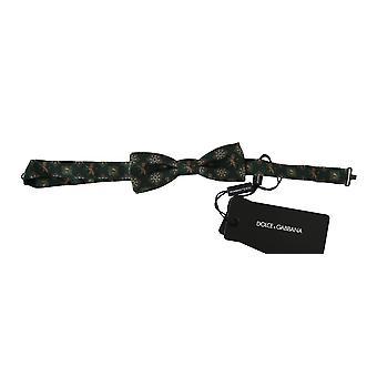 Dolce & Gabbana Green Lion Silk Reglabil Gât Papillon Papillon Pap Tie -- FT11425392