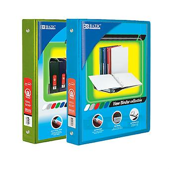 Combo45, BAZIC 1 Inch 3-Ring View Binder with 2-Pockets (Case pack of 24 consist 12-Lime Green & 12-Cyan)