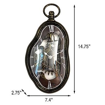Modern Home Salvador Dali Inspired Melting Wall Clock - Steampunk Style Finish - Kitchen/Office/Bedroom Timepiece