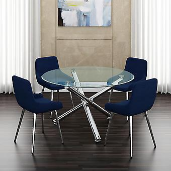 Lincoln Ii/Astrid 5Pc Dining Set - Chrome Table/Blue Chair