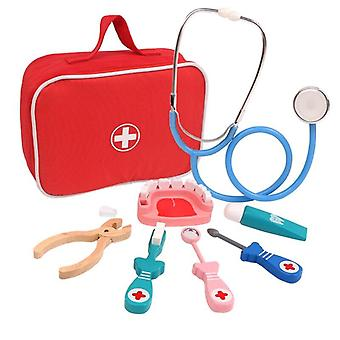 Wooden Pretend Play Doctor Educationa For- Medical Simulation Medicine Chest