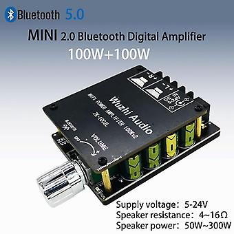 100wx2 Mini Bluetooth 5.0 Wireless Audio Power Digital Amplifier Amp Dc 12v 24v