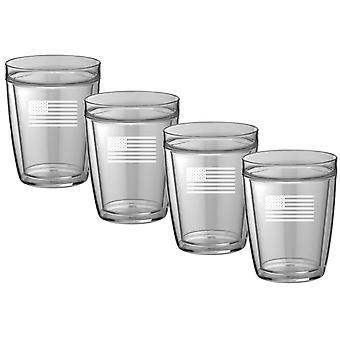 Kasualware 14 Oz Doublewall Short Drink U.S.ASet/4