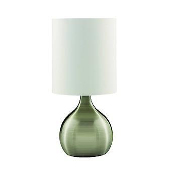 searchlight touch - 1 lys bord berøring lampe antikk messing med stoff skygge, E14