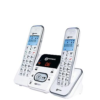 Geemarc Twin forstærket trådløs telefon håndsæt med Tam + 1 håndsæt