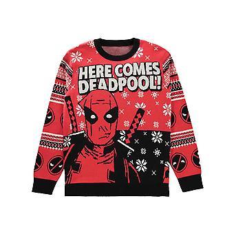 Deadpool Knitted Christmas Jumper Here Comes Logo nieuwe Officiële Unisex