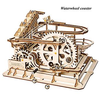 Robotime Diy Waterwheel Coaster - Wooden Model Building Kits Assembly Toy - 4