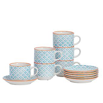 Nicola Spring 24 Piece Hand-Printed Stacking Teacup and Saucer Set - Japanese Style Porcelain Coffee Cups - Blue - 260ml