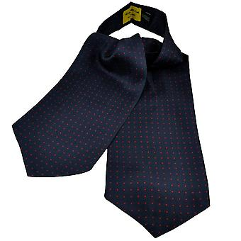 Ties Planet Gold Label Navy Blue & Red Polka Dot Printed Silk Casual Cravat
