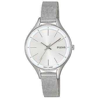 Pulsar Ladies Stainless Steel Mesh Bracelet With Silver Dial 50M Watch