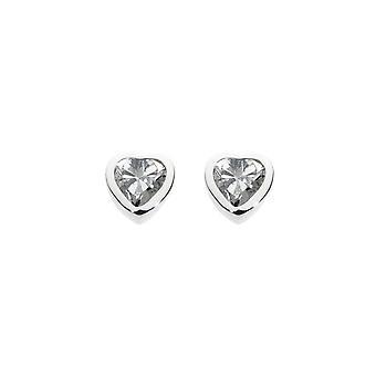 Dug sterling sølv Dinky cubic zirconia hjerte stud Earriings 3035CZ