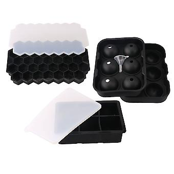 3x Removable Silicone Ice Ball Cube Tray for Child Drinks Black Color