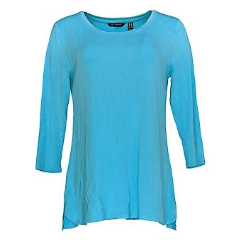 H by Halston Women's Top Essentials 3/4 Sleeve Shirttail Hem Blue A352994