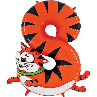 Oaktree 40 Inch Number Eight Cat Zooloon Birthday Balloon