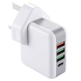 KP-4U 25W USB-C / Type-C Quick Charger Power Adapter, UK Plug, AC 90-240V, For Galaxy S8 & S8 + / LG G6 / Huawei P10 & P10 Plus / Xiaomi Mi 6 & Max 2