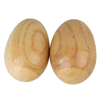 2 Pieces Natural Finish Percussion Wooden Egg Shakers Percussion Instrument