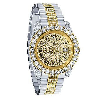 High Quality Iced Out Zirkonia Edelstahl Uhr - silber / gold