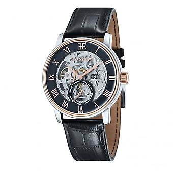 Thomas Earnshaw Es-8041-04 Westminster Classic Two Toned & Black Leather Automatic Skeleton Watch