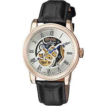 Gevril 2694 VANDERBILT ROSE GOLD CASE SILVER DIAL BLACK BAND