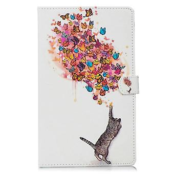 For Amazon Kindle Fire HD 10 Stitching Horizontal Flip Leather Case with Holder & Card Slots & Sleep / Wake-up Function(Cat and Butterfly)