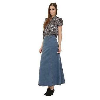Long denim skirt maxi skirt full length - stonewash