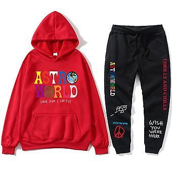Letters Print Sweatshirt+sweatpant Men's Pullover Sports Pants Tracksuit