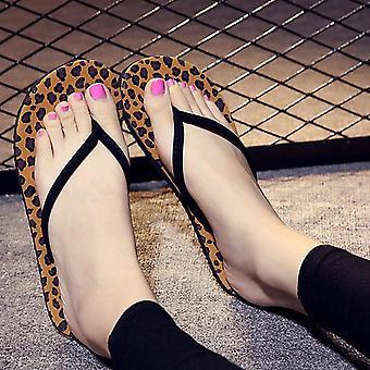 Volantes de verano, zapatillas de leopardo para damas