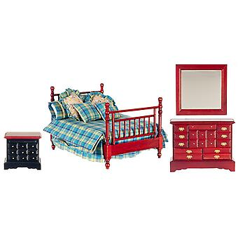Dolls House Mahogany Double Bedroom Furniture Set With Country Check Bedding