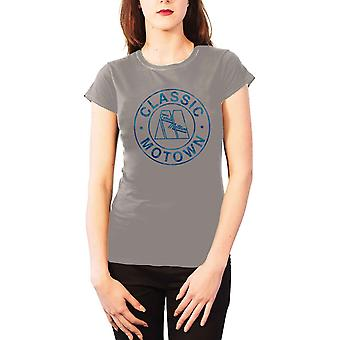 Motown T Shirt womens Classic Circle logo new Official Grey skinny fit