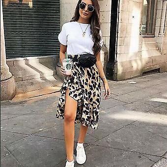 Jupe léopard Femmes Mode Sexy Wrap Over Jupe de longueur asymétrique