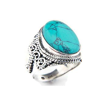 Ring Silver 925 Sterling Silver Turquoise Blue Green Stone (Nr: MRI 77-15)