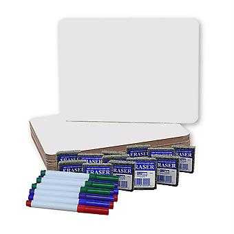 """Dry Erase Boards (9"""" X 12""""), Colored Pens, And Erasers, 12 Of Each"""
