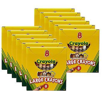 Crayones Multiculturales, Grandes, 8 Por Caja, 12 Cajas